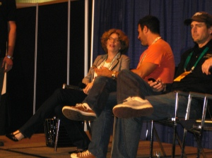 Anat Baron of Beer Wars: The Movie, Sam Calagione of Dogfish Head, and Greg Koch of Stone Brewing.