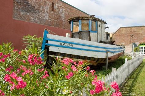 A boat next to the original sponge exchange. Appalachicola
